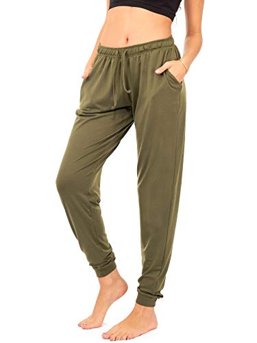 - DEAR SPARKLE Jogger with Pockets for Women Drawstring Lightweight Sweats Yoga Lounge Pants + Plus Size (P7) (Olive, 2X-Large)