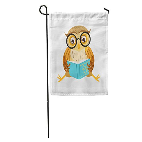Semtomn Garden Flag Owl Reading The Book Cute Cartoon Character Emoji Forest Bird Home Yard House Decor Barnner Outdoor Stand 12x18 Inches Flag
