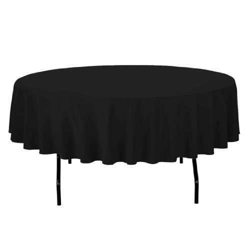 Craft and Party - 10 pcs Round Tablecloth for Home, Party, Wedding or Restaurant Use. (90 Round Black)