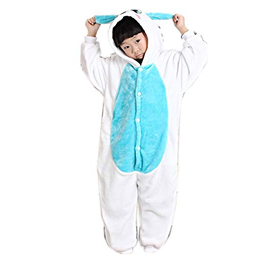 Kids White Rabbit Animal Costume - Childrens Plush One Piece Pajamas(blue-115-for Height(126-134cm)) ()