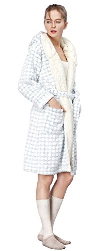 Florentina Women's Soft Hooded Robe Blue 3D Fleece Fabric With Cream Hood Lining (L)
