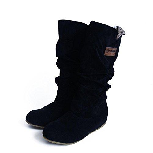 Culater Mujer Botas hasta las Rodillas Talón Plano Nubuck Zapatos Negro