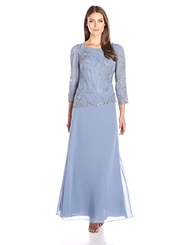 J Kara Women's Long Scoop Neck Asymetrical Beaded Dress, Dusty/Blue/Blue, 16