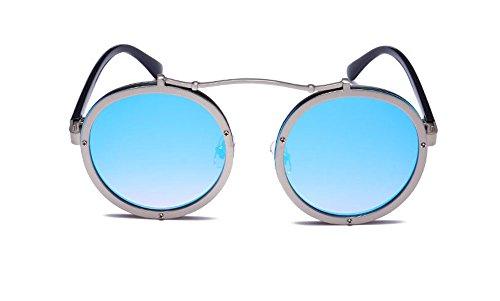 Keephen soleil Steampunk métal lunettes de Polarized cadre Round Bleu classique en Argent Retro Frame wwqUTr