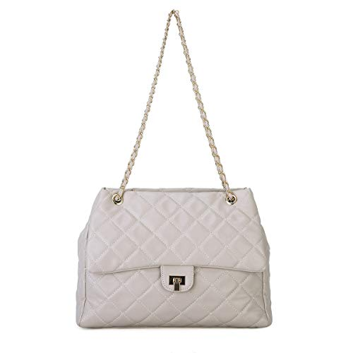 - Women Fashion PU Leather Crossbody Bag Quilted Shoulder Purse for Girls with Golden Chain Strap