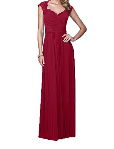 Spitze Rock Charmant lang Damen Weinrot Promkleider Abendkleider Chiffon Brautmutterkleider Elegant Ballkleider BqEqf1