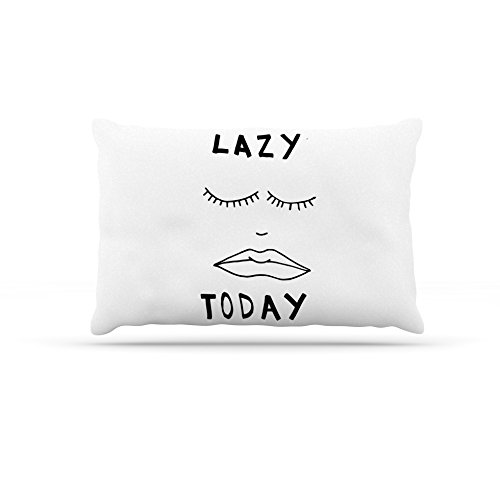 50 by 60\ Kess InHouse Vasare Nar Lazy Today White  Typography Fleece Dog Bed, 50 by 60