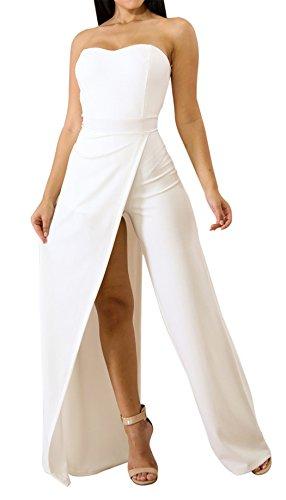 Acelitt Womens Off Shoulder Sleeveless Asymmetric Split Leg Strapless Jumpsuit Rompers White Large by Acelitt
