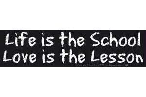 AzureGreen EBLIF Life is The School Love is The Lesson Bumper Sticker