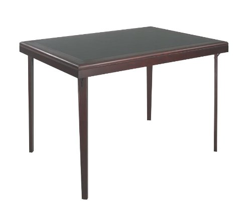 Gathering Collection Height Table - Wood Folding Table with Vinyl Inset in Black and Mahogany