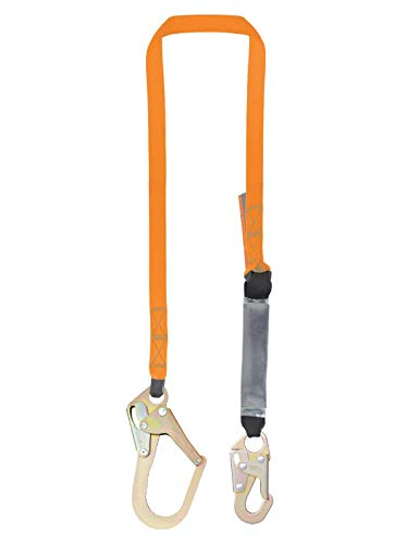 6 Foot Single Leg External Shock Absorbing Lanyard with 1 Peri Form Hook and 1 Steel Snap Hook by Malta Dynamics