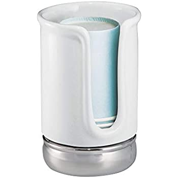 InterDesign York Ceramic Disposable Paper Cup Dispenser for Bathroom Countert...