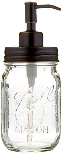 Industrial Rewind Mason Jar soap Dispenser - 16oz Clear Pint Ball Mason Jar with Oil Rubbed Bronze Soap Dispenser