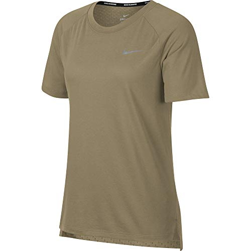 Nike Women's Tailwind Short-Sleeve Running Top Neutral Olive XS (Tailwind Nike Women)