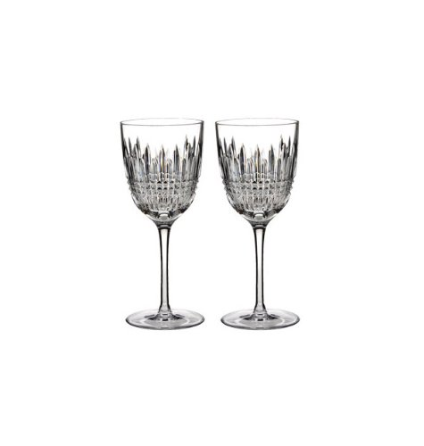 Waterford Set of 2 Lismore Diamond White Wine Glasses by Waterford