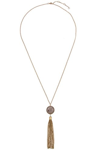 GlitZ Finery Elongated Simple Round Stone Accent with Chain Tassel Necklace (Gray)