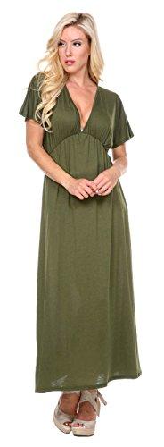 Stanzino Women's V neck Short Sleeve Elastic Waist Maxi Dress – Small, Forrestgreen
