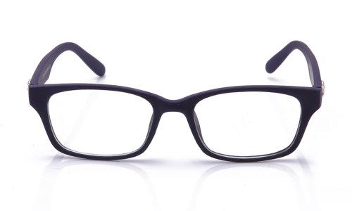 Newbee Fashion - Fashionista Unisex Squared Fashion Clear Lens Glasses Rubber Navy V2