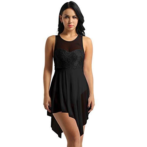 iEFiEL Women Sleeveless Lyrical Dance Costume Sweetheart Sequins Asymmetric Mesh Dress Leotard Ballet Bodysuit Black Large ()