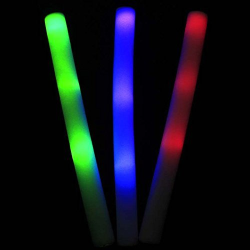 xlpace 30pcs Light Up Multi Color LED Foam Stick Wands Rally Rave Cheer Batons Party Flashing Glow Stick Light Sticks