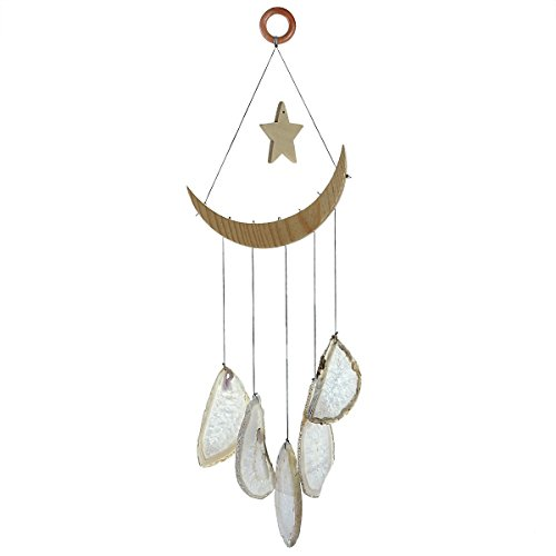 mookaitedecor Natural Agate Slices Wind Chimes for Home Garden Decoration 15-19 (Moon Agate)