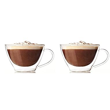 Lily's Home Glass Double Wall Cappuccino Mugs, 13 Ounces - Set of 2