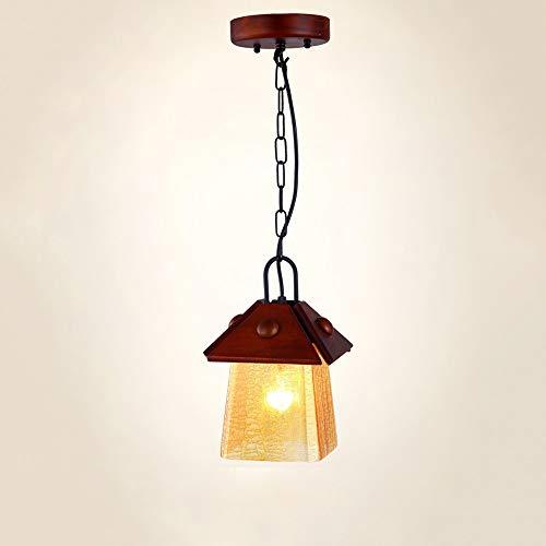Jtivcsb Américain Rétro Pendentif Luminaire en Verre en Bois De Ferme Vintage Plafond Suspension E27 Edison Réglable en Fer Métal Suspension Lumière Lanterne pour Grange Entrepôt Cuisine Island
