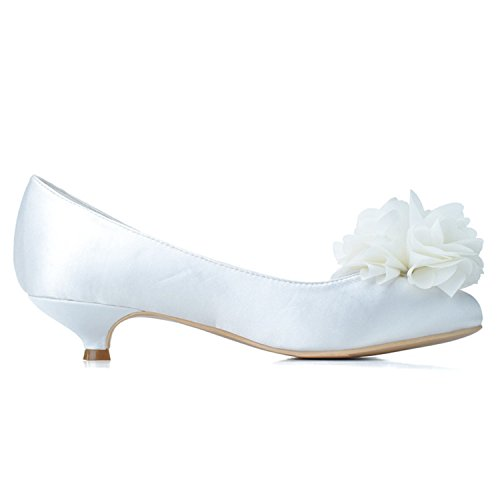 Wedding Flower Satin Szxf9001 Heel 02 Bridesmaid Round Sarahbridal Kitten Prom Toe Shoes Women's Bridal Court White qHxXntB