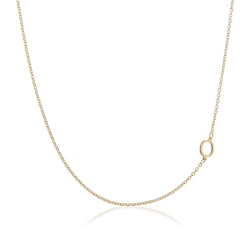 Deidreamers Side Mini Initial 14k Gold on Silver O (Necklace Initial O)