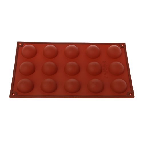 LANDUM 15 Cavities Large Hemisphere Chocolate Silicone Baking Mold Cake Dome Mould Mat