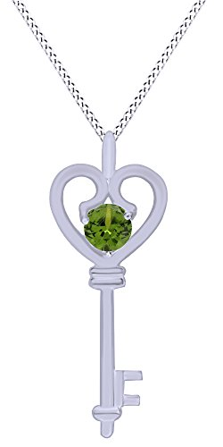 Heart Cut Peridot Pendant - AFFY Round Cut Simulated Green Peridot Heart Key Pendant Necklace In 14K White Gold Over Sterling Silver