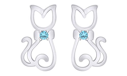 Christmas Sale Round Cut Simulated Blue Topaz Hello Kitty Cat Stud Earrings in 14K White Gold Over Sterling Silver