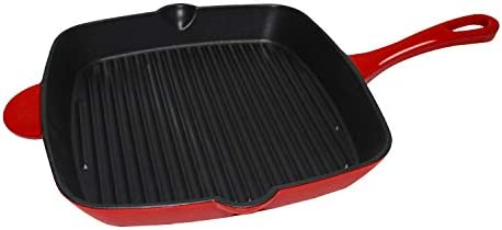 MikeGarden 11 Cast Iron Square Skillet Red