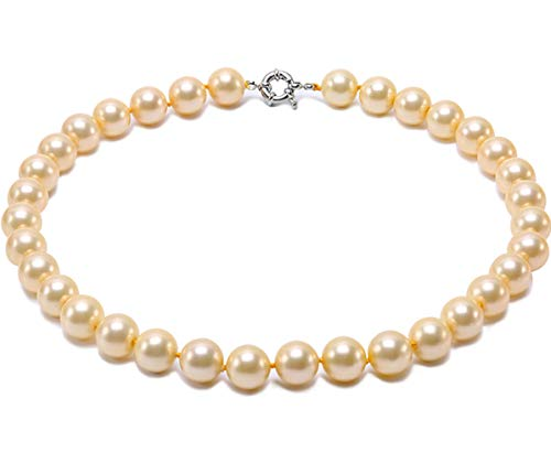 JYXJEWERLRY Fashion Women Pearl Necklace Classical 12mm Golden Round South Seashell Pearl Necklace for Ladies