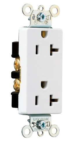 Legrand - Pass & Seymour 26352WCC8 Spec Rated Decor Receptacle 20-Amp 125-volt Side and Back Wired