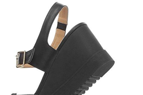 Amoonyfashion Mujeres Buckle Open Toe High Heels Sandalias Sólidas De Cuero Negro