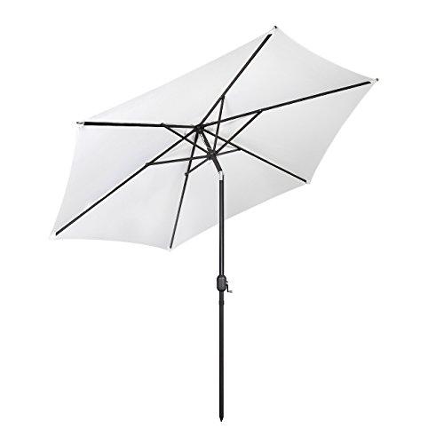 Sekey® Sonnenschirm Ø 300 cm Alu-Ampelschirm Marktschirm Gartenschirm Terrassenschirm Weiß UV50+