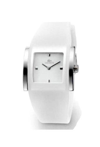 Lacoste 6350L 20 - Reloj analógico de mujer de cuarzo con correa de silicona blanca