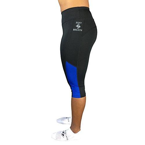 Best Women Tights for Running and Yoga by SoftBreath (Medium, Black/Blur)