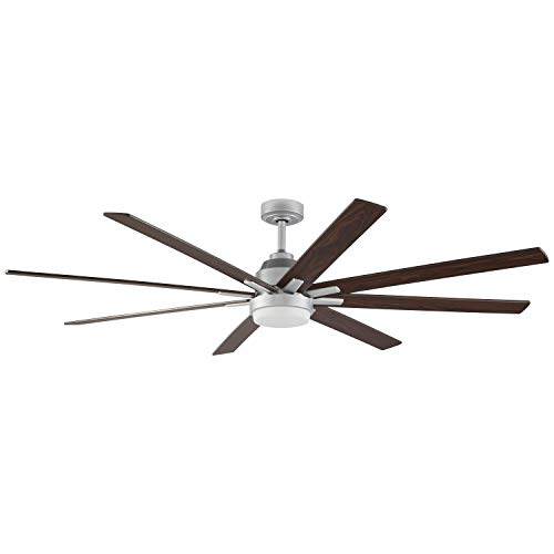 Rivet Modern Remote Control DC Motor Ceiling Fan with 18W Integrated LED Light - 72 x 72 x 9.84 Inches, Silver ()