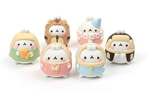 Molang The Happy Rabbit Miniature Figures Figurines Toy Winter Edition Set 1.96