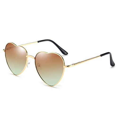 Dollger Heart Sunglasses for Women Cute Mirrored Sunglasses Gold Thin Metal Frame Brown ()