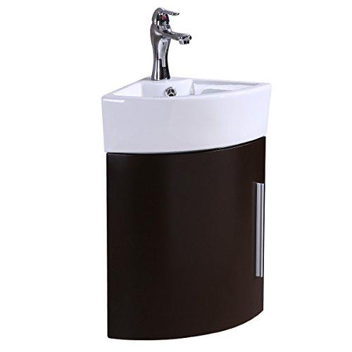 Corner Wall Mount Bathroom Vanity Sink White With Dark Oak Vanity