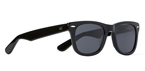 Wolfnoir Men's Kiara Shadowy Black, Black Frame/Black Lens Wayfarer 49 mm Polarized - Bans For Cheap Ray