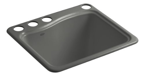 Kohler K-6657-4U-58 River Falls Undercounter Sink with Four-Hole Faucet Drilling, Thunder Grey