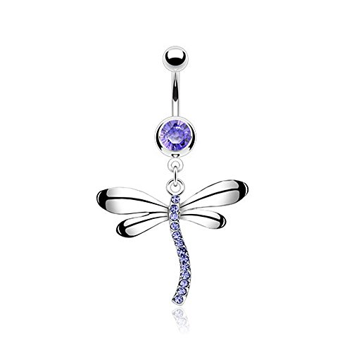 West Coast Jewelry {Tanzanite} 316L Steel Gem Navel Belly Button Ring with Gem Dragonfly Dangle-14GA 3/8