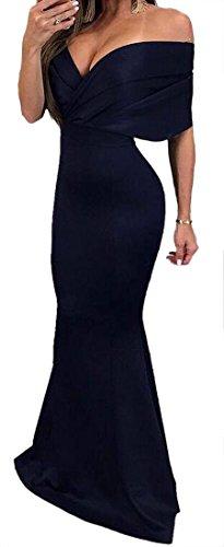 Femmes Cromoncent Mince Sexy Solide Mode Queue De Poisson Hors Épaule Noir Robe Longue