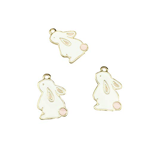 SANQIU 20PCS Enamel Rabbit Charm for Jewelry Making and Crafting ()