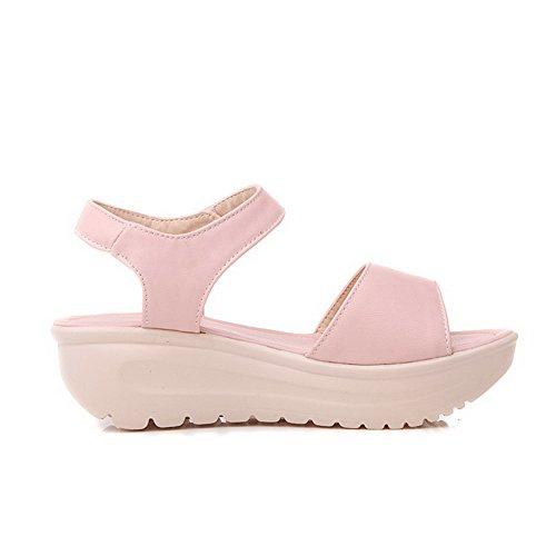 Odomolor Mujeres Pu Sólido Velcro Tacón Medio Sandalias de vestir Rosa
