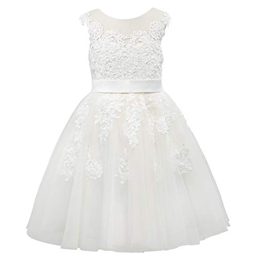 Miama Sheer Neck Lace Tulle Wedding Flower Girl Dress Junior Bridesmaid Dress Ivory]()